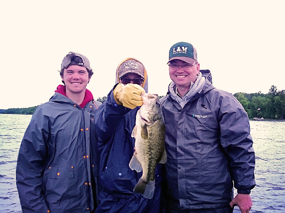 MN Fishing Pro Guide Jason Boser clients with large mouth bass, 2017