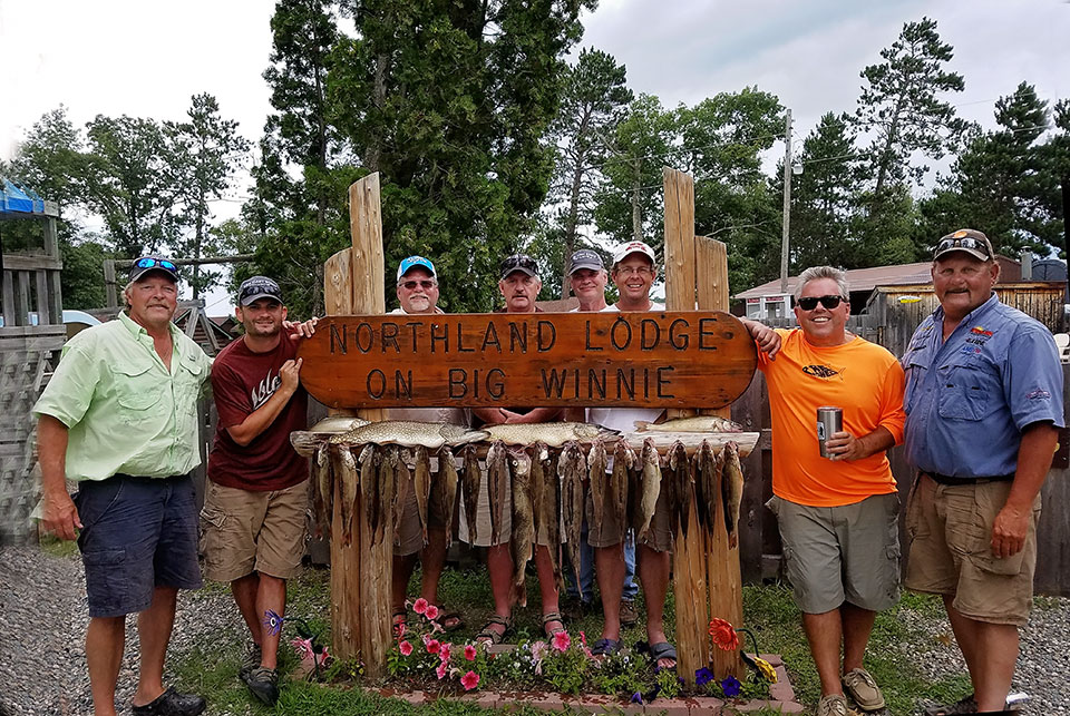 MN Fishing Pro Guide Jason Boser and Charlie Worrath with walleye fishermen, Northland Lodge on Lake Winnibigoshish 2016