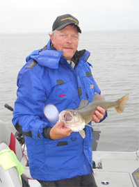 MN Fishing Pro Guide Jason Boser with walleye